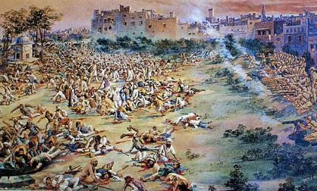 British firing into a crowd of Indians at Amritsar