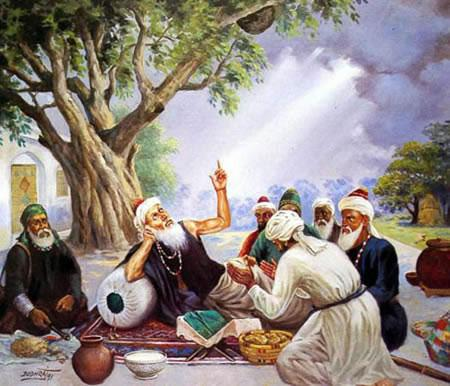 Baba Sheikh Farid with Holy Men