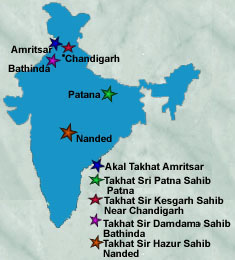 Locations of The 5 Takhts